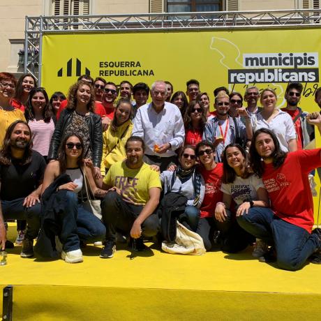 La militància del Jovent Republicà del Baix Llobregat amb Miquel Salip, Jordi Albert, Ernest Maragall i Ester Capella