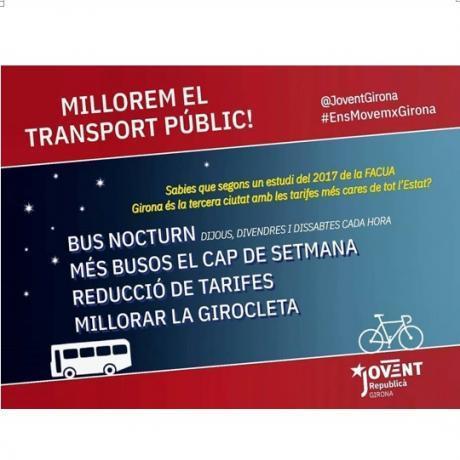 Cartell de la campanya de mobilitat del Jovent Republicà de Girona