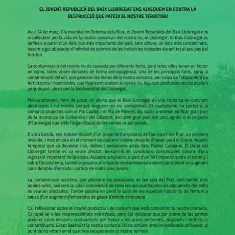 Comunicat del Jovent Republicà del Baix Llobregat pel Dia mundial en defensa dels Rius