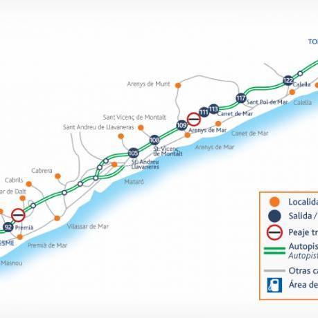 Mapa autopistes del Maresme