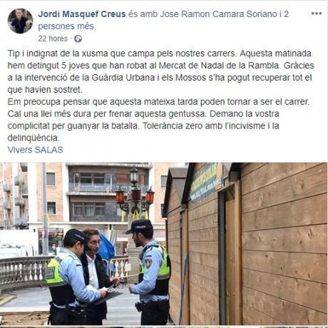 Comentari de l'alcalde de Figueres, Jordi Masquef, al Facebook