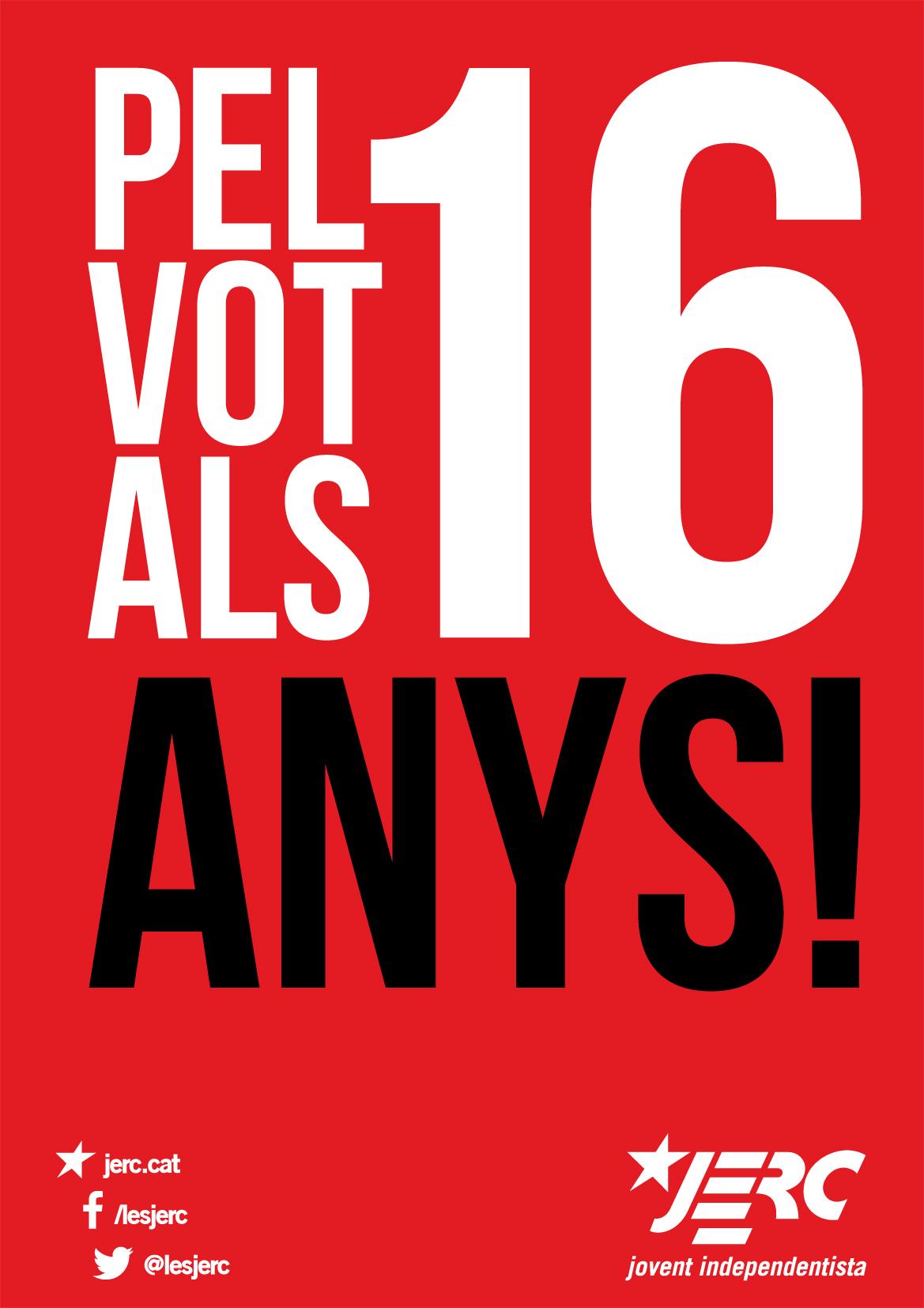 Cartelll de le JERC pel vot als 16 anys