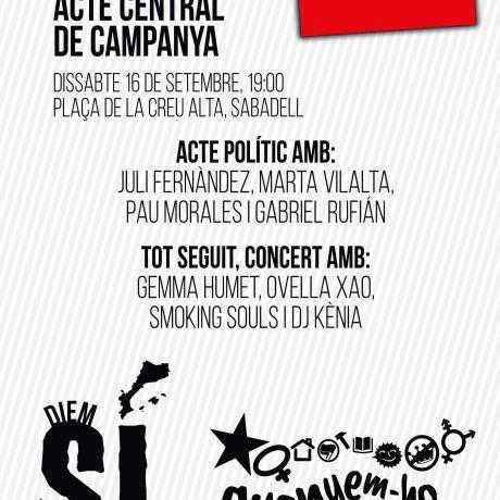 Aquest dissabte, acte central de campanya a Sabadell