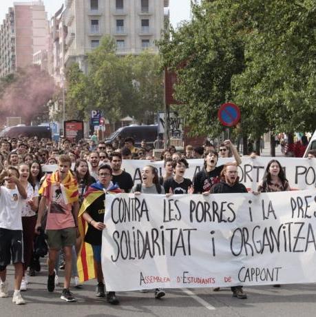 Manifestació estudiantil de l'octubre del 2019 a la ciutat de Lleida