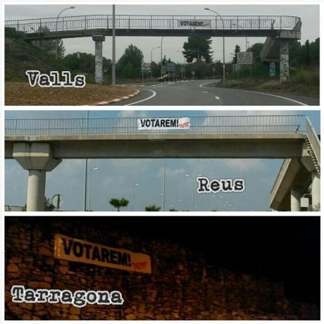 Pancartes a Valls, Reus i Tarragona