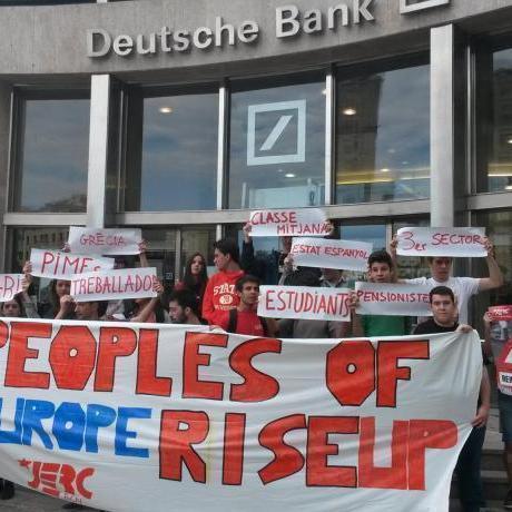 Acció davant del Deutsche Bank de Diagonal