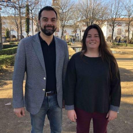 El cap de llista per Girona, Quim Ayats, i la representant del Jovent Republicà, Marina Vinardell
