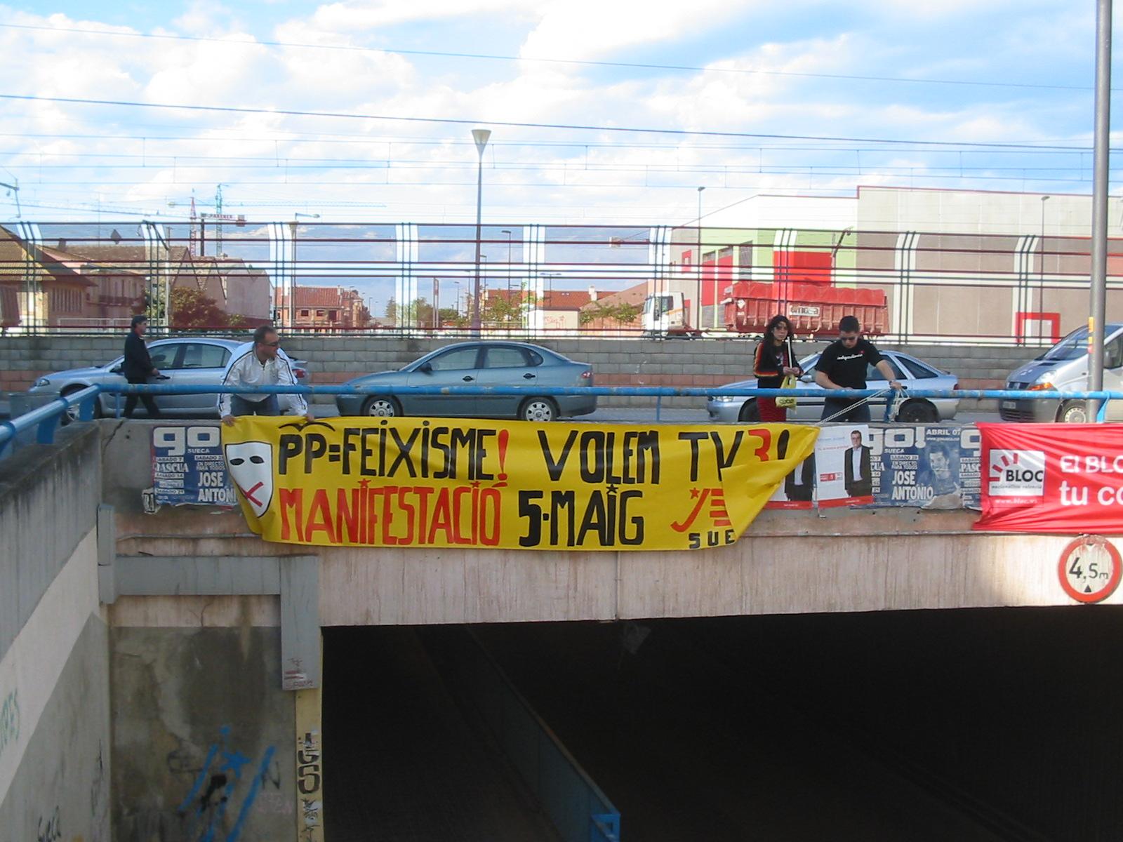 Penjada de pancartes de les JERPV de Sueca