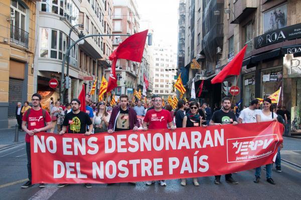 Capçalera del bloc de les JERPV a la manifestació