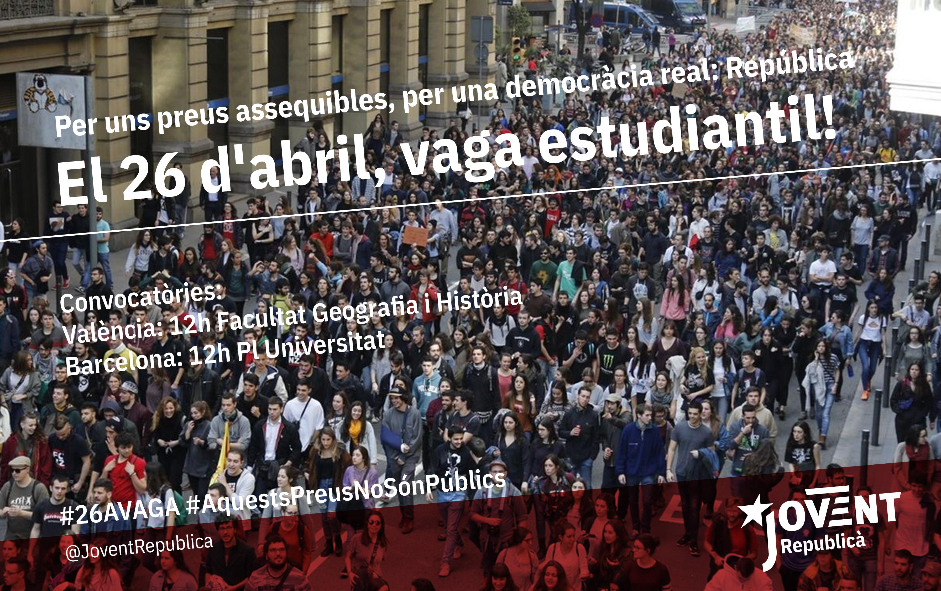 El 26 d'abril vaga estudiantil!