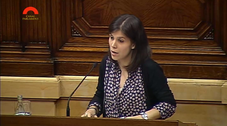 Marta Vilalta al Parlament de Catalunya interpel·lant al conseller Homs sobre polítiques de cooperació