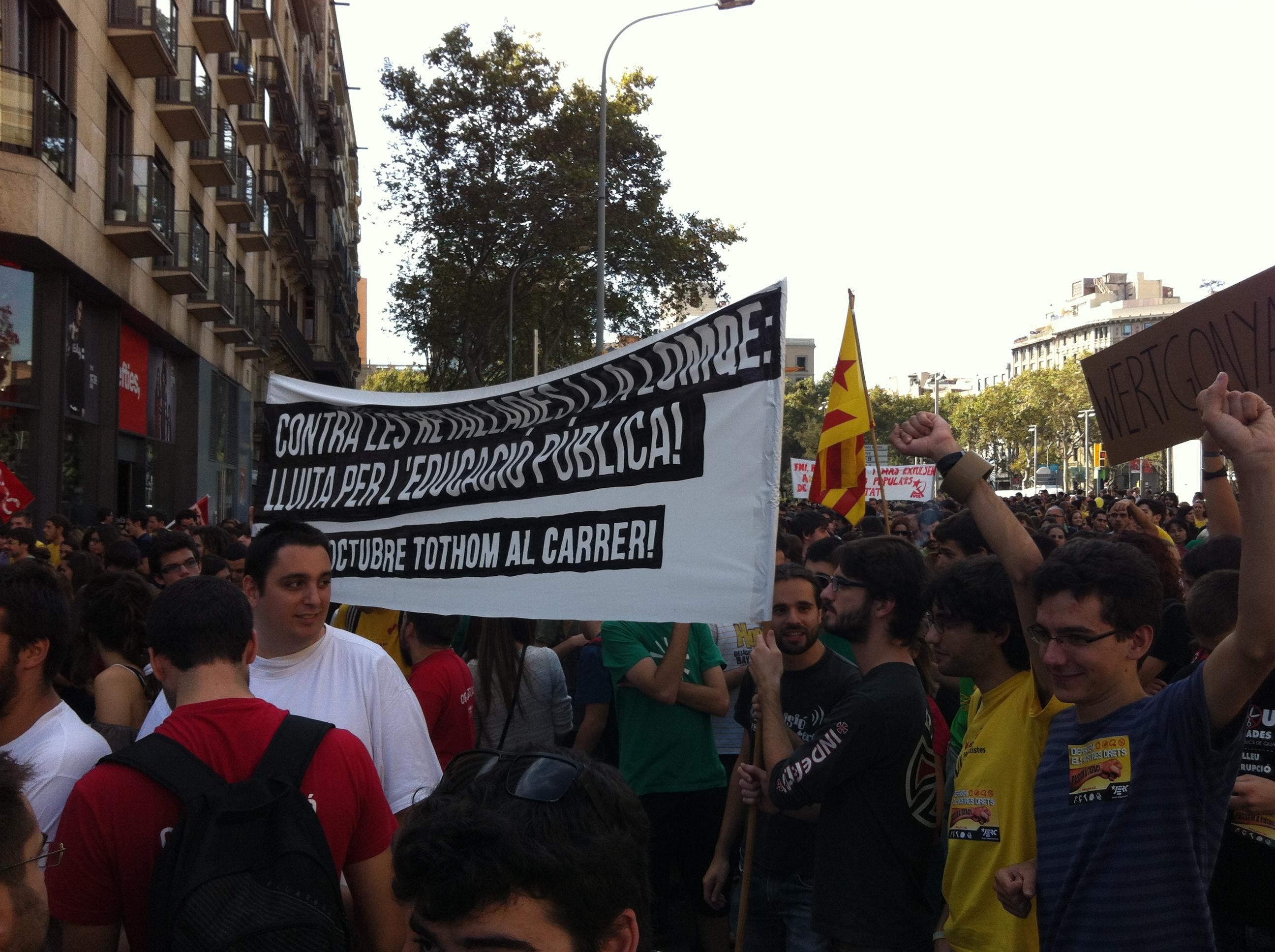 Les JERC a la manifestació contra la LOMQE