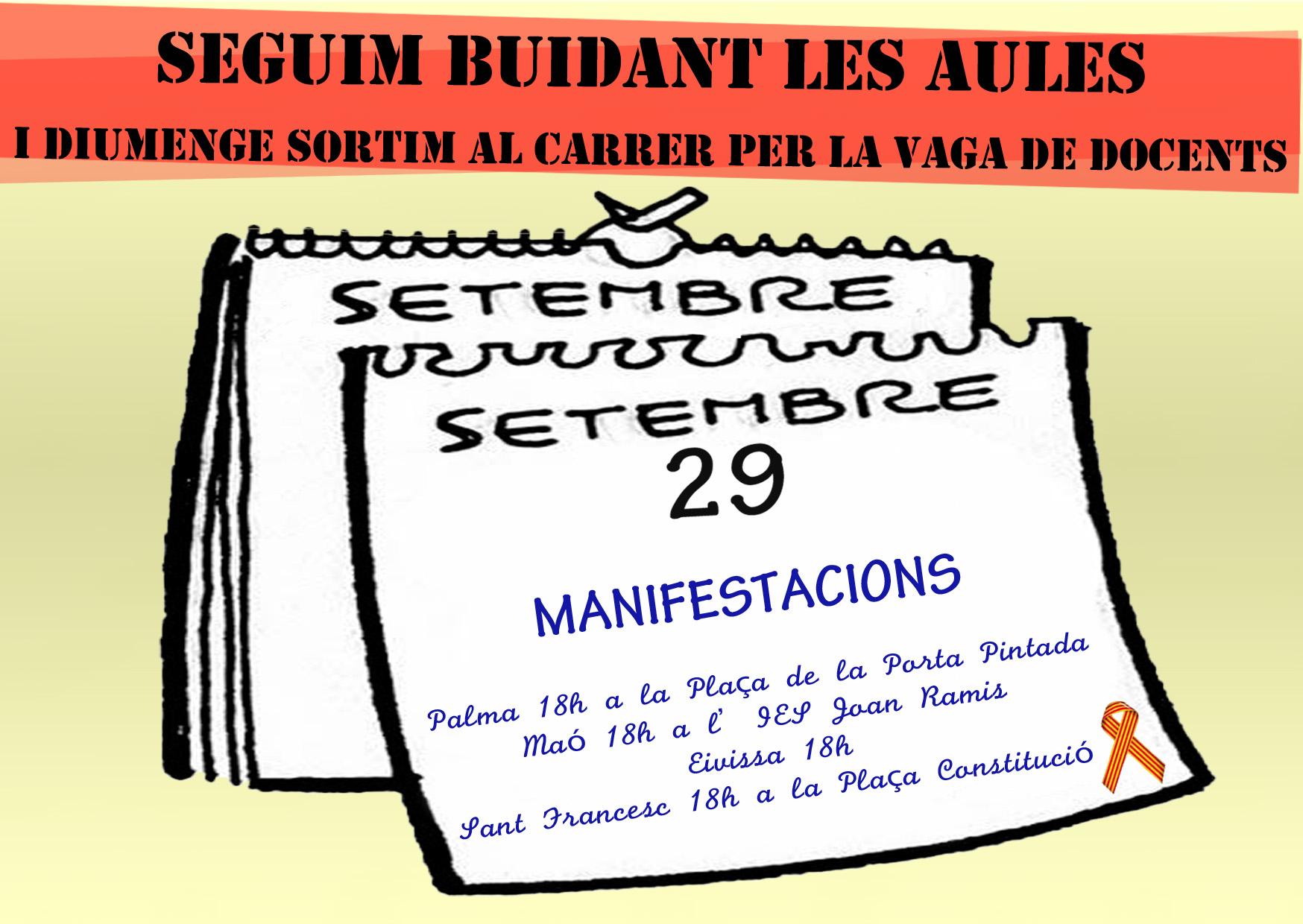 Imatge de convocatòria a les manifestacions en suport a la vaga de docents